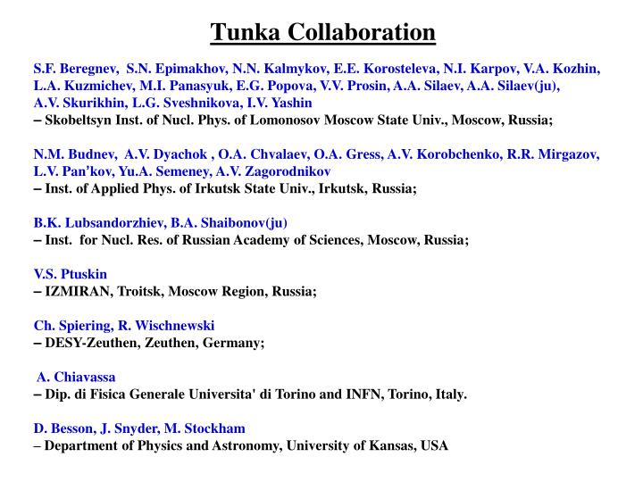 Tunka collaboration