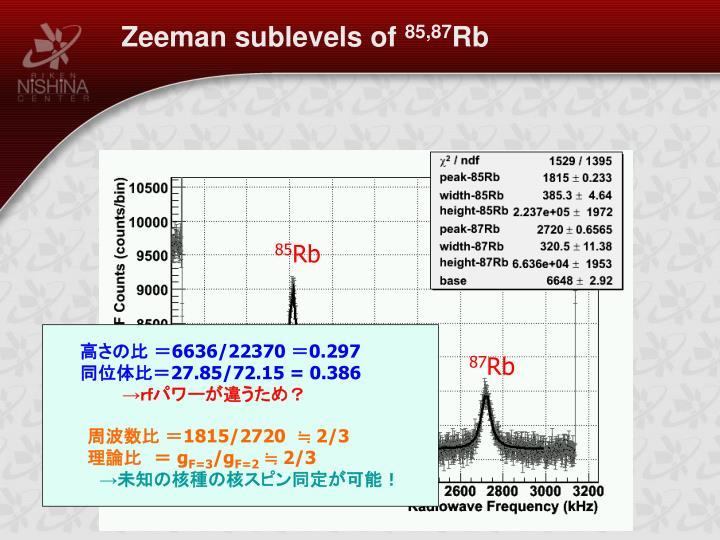 Zeeman sublevels of