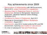 key achievements since 2009