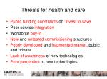 threats for health and care