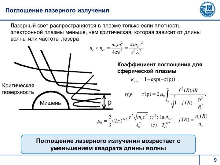 Поглощение лазерного излучения