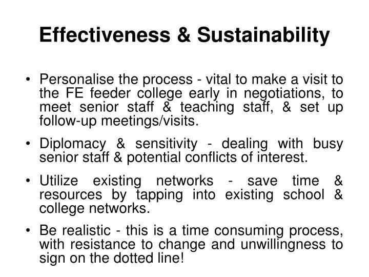 Effectiveness & Sustainability