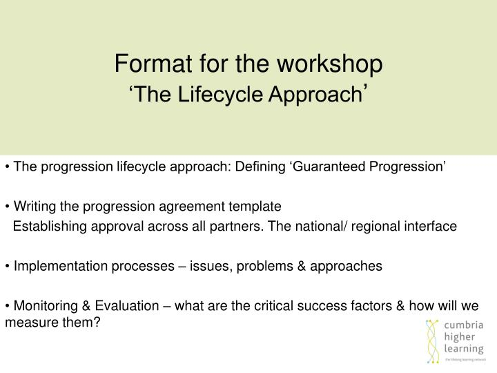 Format for the workshop