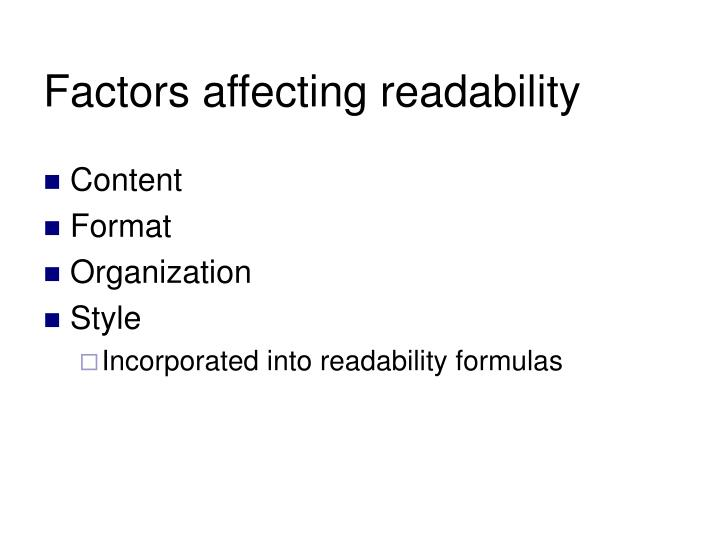 Factors affecting readability