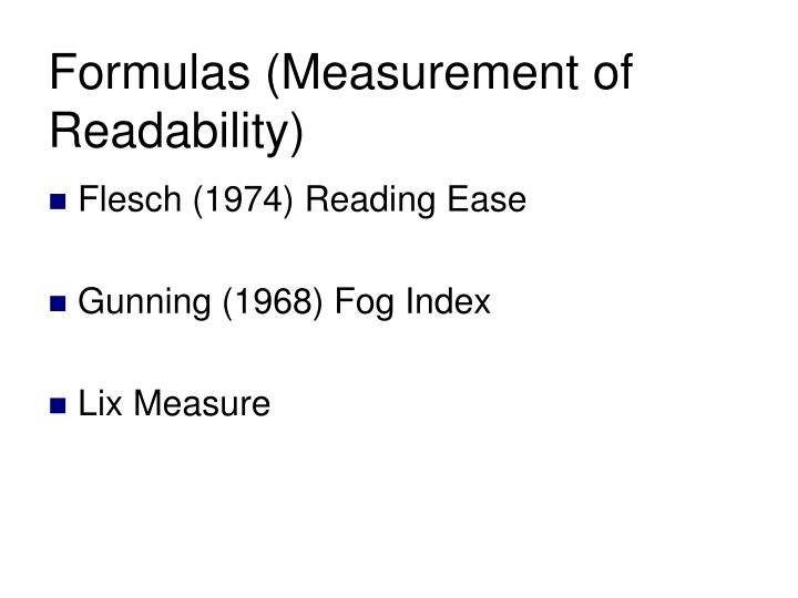 Formulas (Measurement of Readability)