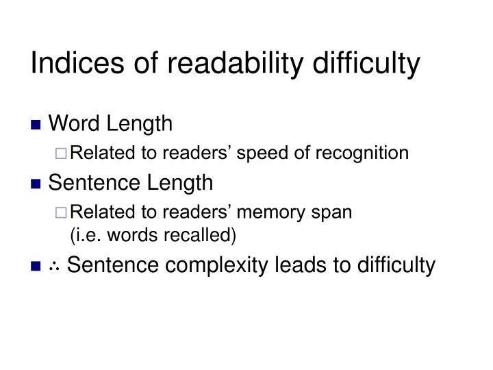 Indices of readability difficulty