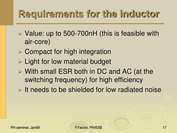 Requirements for the inductor