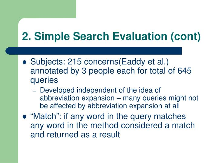 2. Simple Search Evaluation (cont)