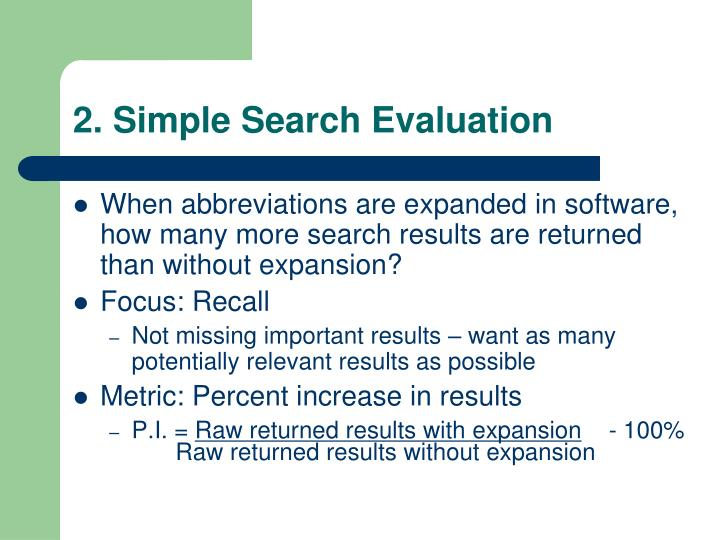 2. Simple Search Evaluation