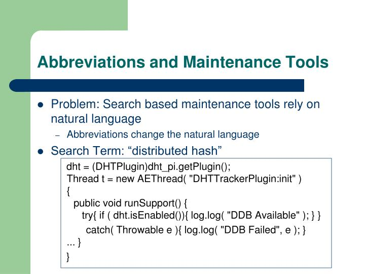 Abbreviations and Maintenance Tools