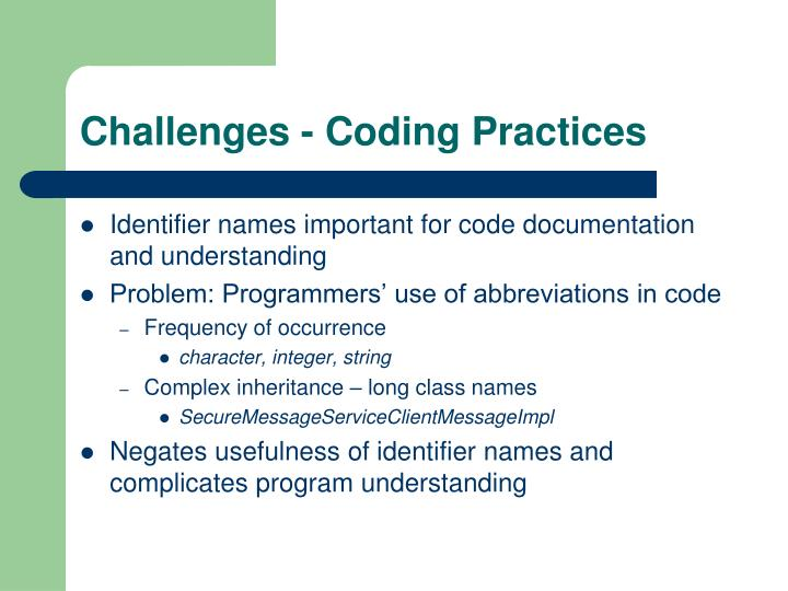 Challenges - Coding Practices