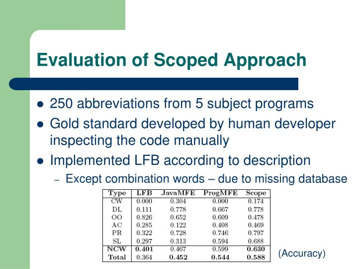Evaluation of Scoped Approach