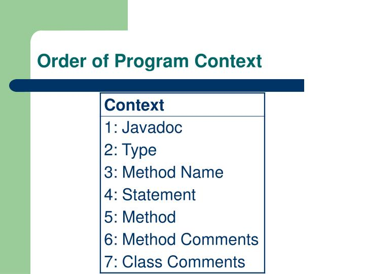 Order of Program Context