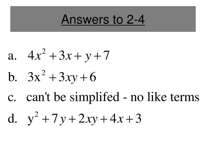 Answers to 2-4