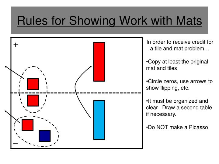 Rules for Showing Work with Mats
