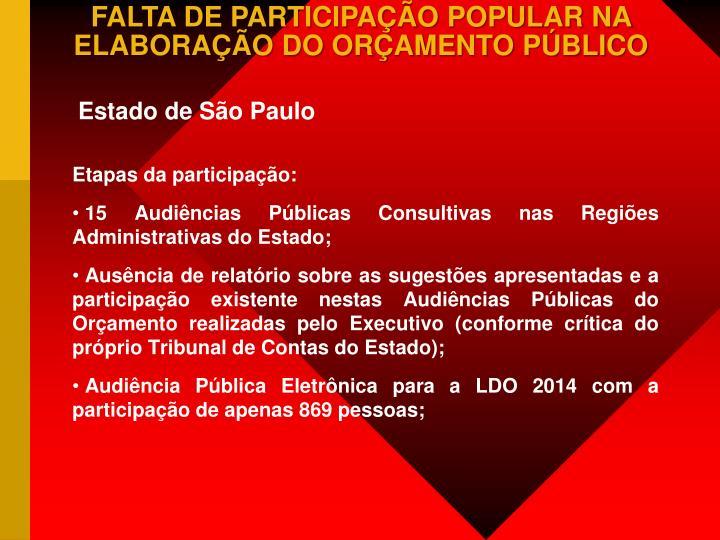 FALTA DE PARTICIPAÇÃO POPULAR NA ELABORAÇÃO DO ORÇAMENTO PÚBLICO