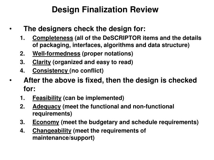 Design Finalization Review