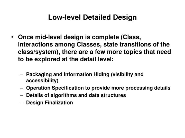 Low-level Detailed Design