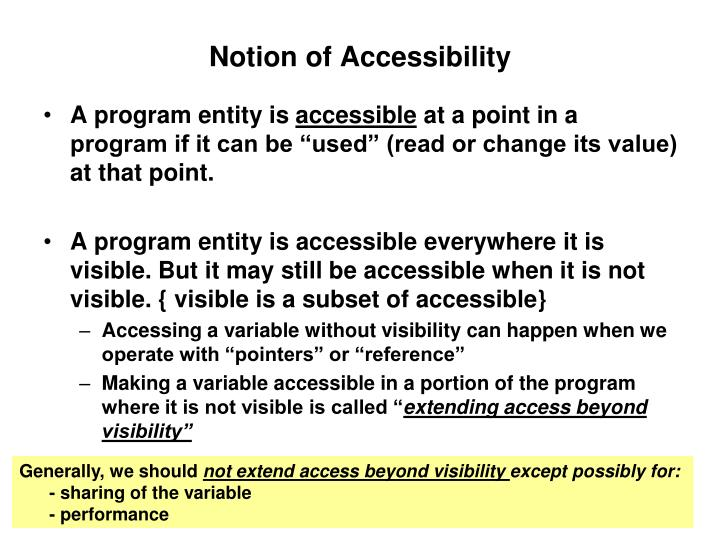 Notion of Accessibility