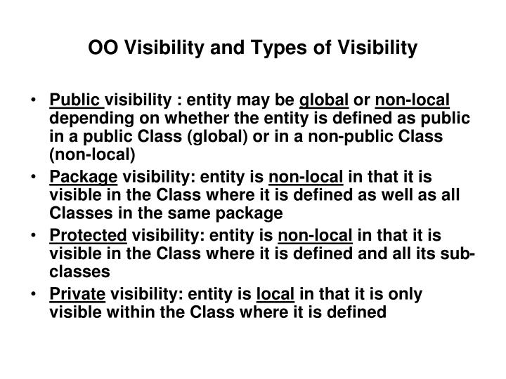 OO Visibility and Types of Visibility