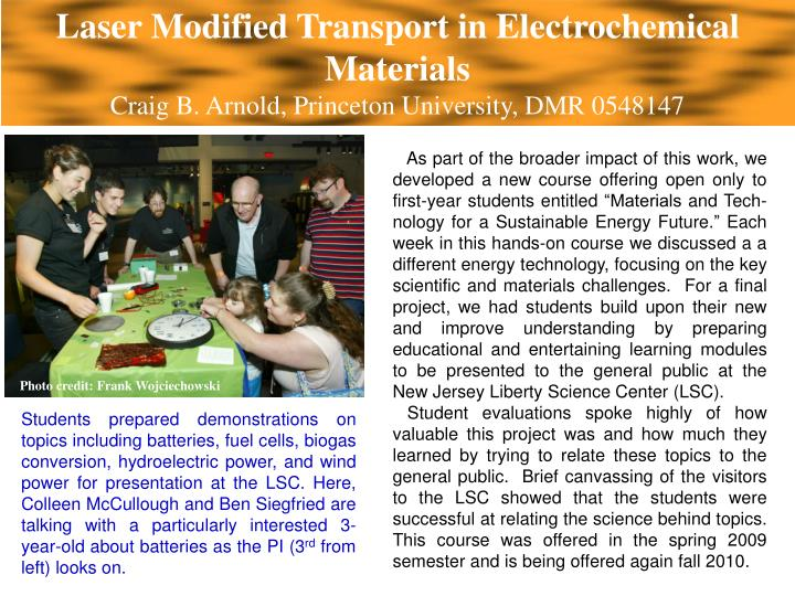 Laser Modified Transport in Electrochemical Materials