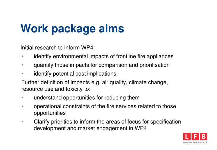 Work package aims