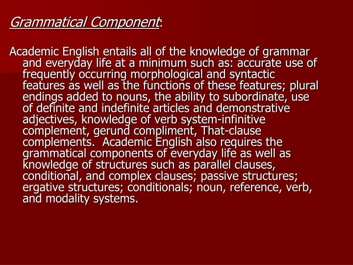 Grammatical Component