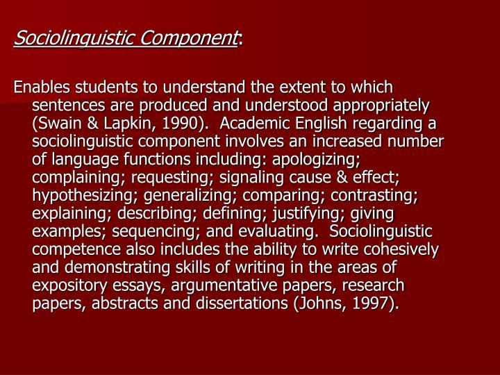 Sociolinguistic Component