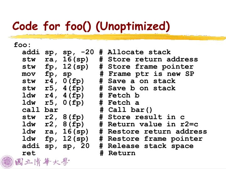 Code for foo() (Unoptimized)