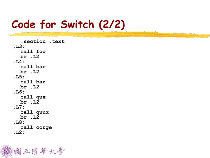 Code for Switch (2/2)