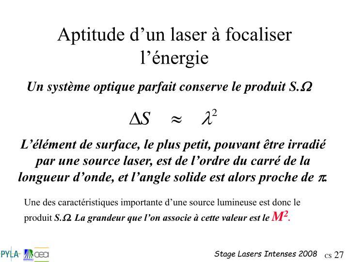 Aptitude d'un laser à focaliser l'énergie
