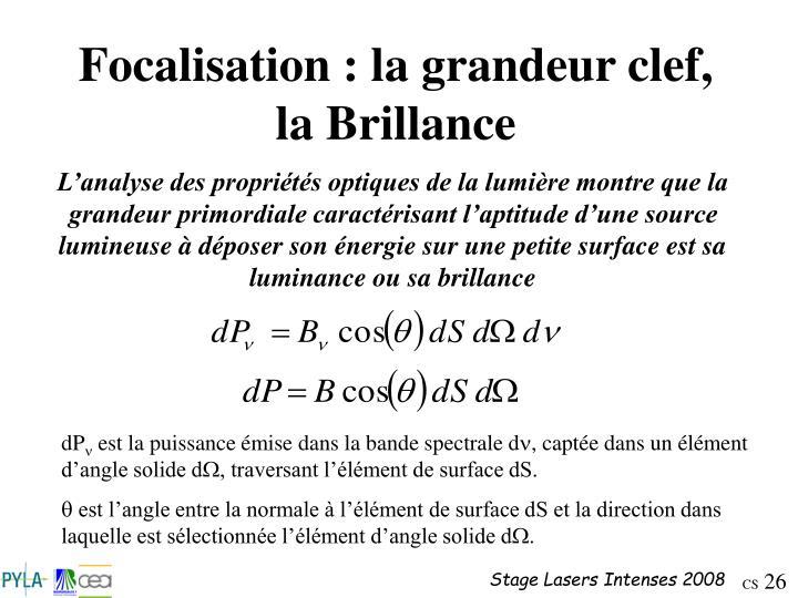 Focalisation : la grandeur clef, la Brillance