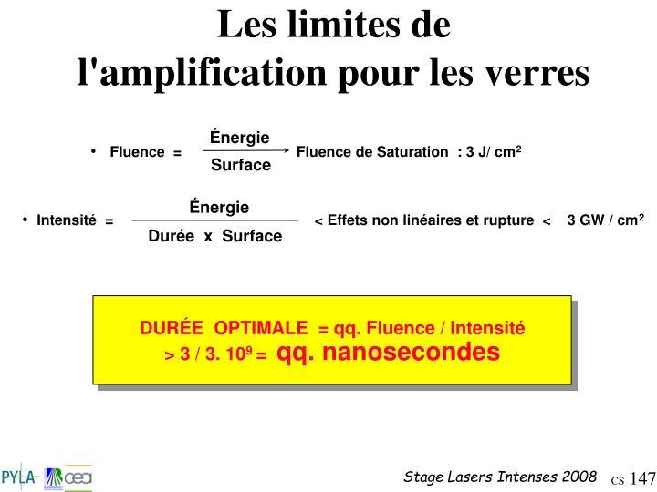 DURÉE  OPTIMALE  = qq. Fluence / Intensité