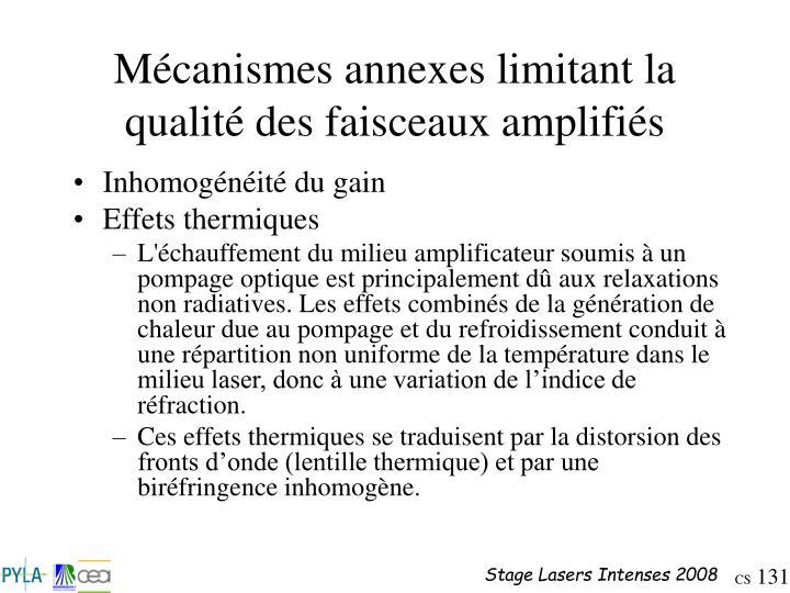 Mécanismes annexes limitant la qualité des faisceaux amplifiés