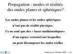 propagation modes et r alit s des ondes planes et sph riques