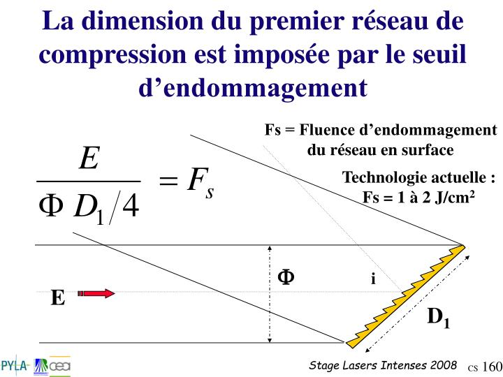 La dimension du premier réseau de compression est imposée par le seuil d'endommagement