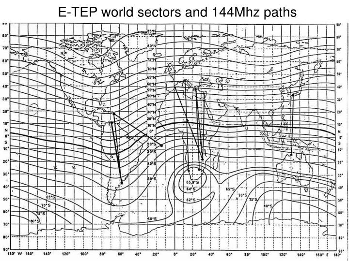 E-TEP world sectors and 144Mhz paths