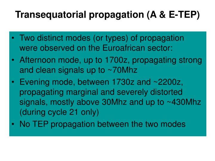 Transequatorial propagation (A & E-TEP)