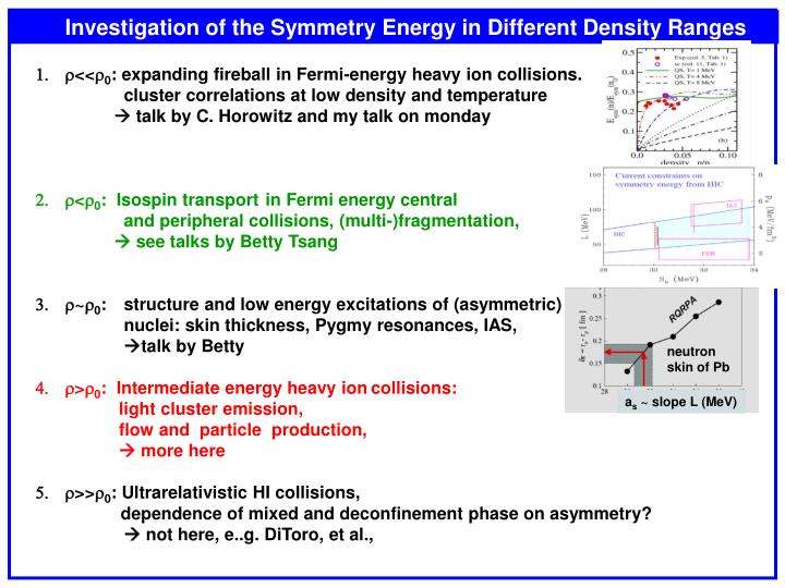 Investigation of the Symmetry Energy in Different Density Ranges