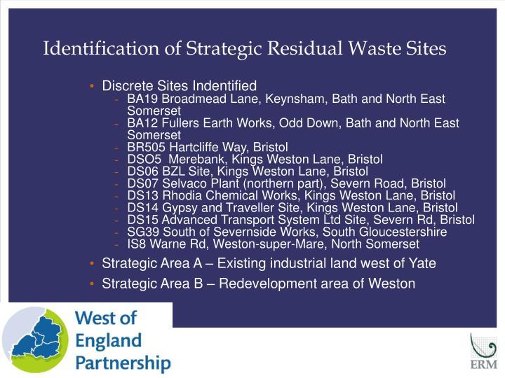 Identification of Strategic Residual Waste Sites