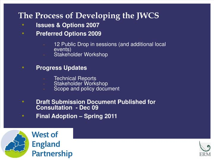 The Process of Developing the JWCS