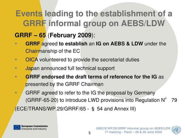 Events leading to the establishment of a GRRF informal group on AEBS/LDW