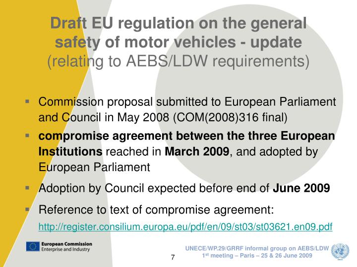 Draft EU regulation on the general safety of motor vehicles - update