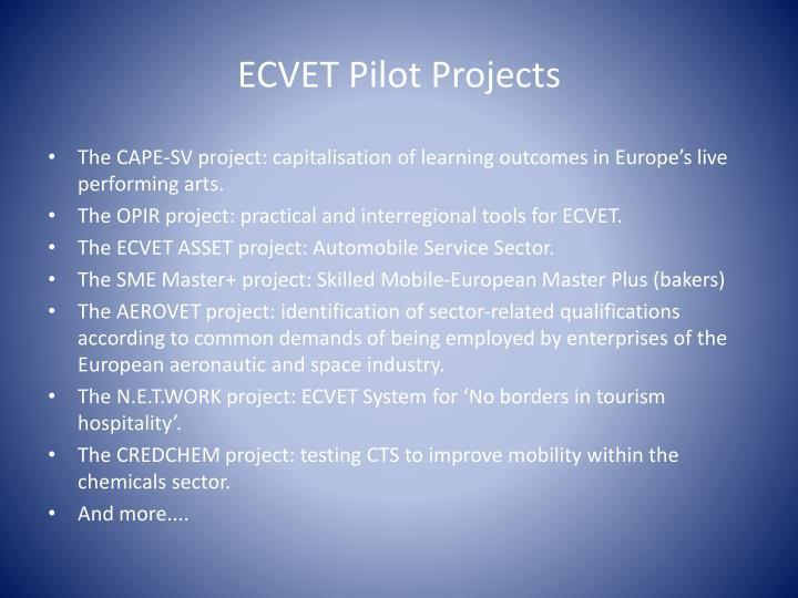 ECVET Pilot Projects