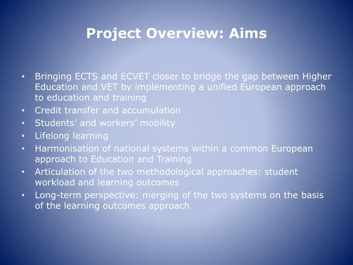 Project Overview: Aims