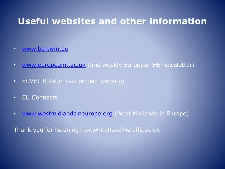 Useful websites and other information