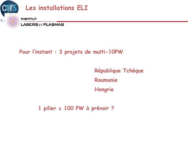 Les installations ELI