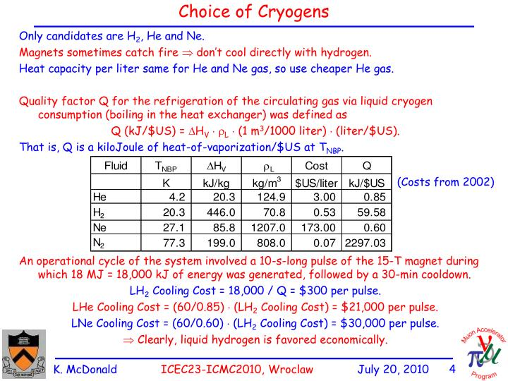 Choice of Cryogens