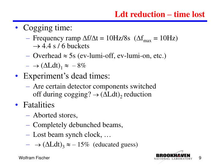 Ldt reduction – time lost