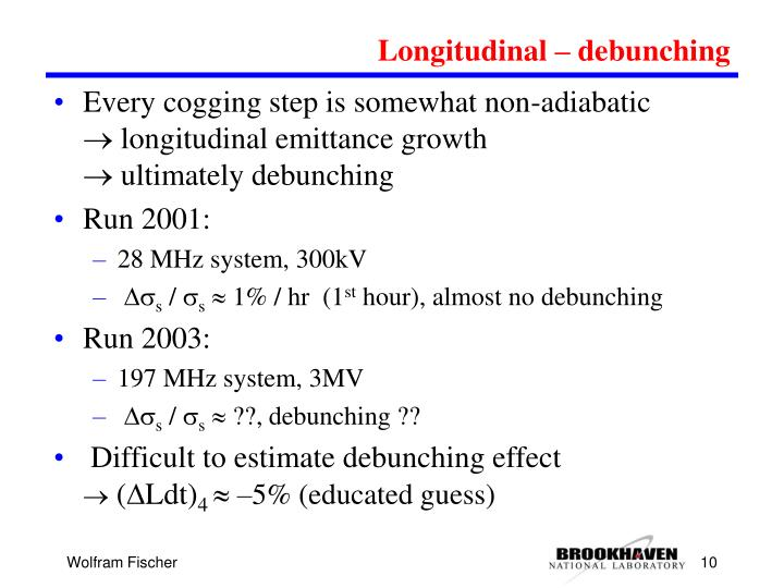 Longitudinal – debunching